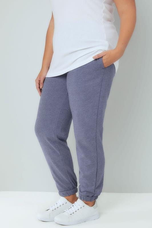 Plus Size Joggers Blue Marl Basic Cuffed Joggers