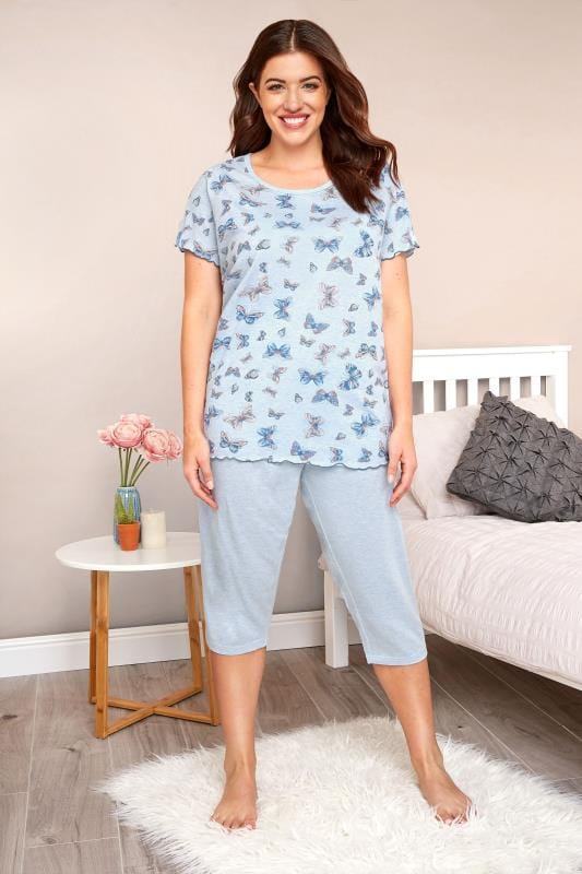 Plus Size Pyjamas Blue Marl Butterfly Print Cropped Pyjama Set