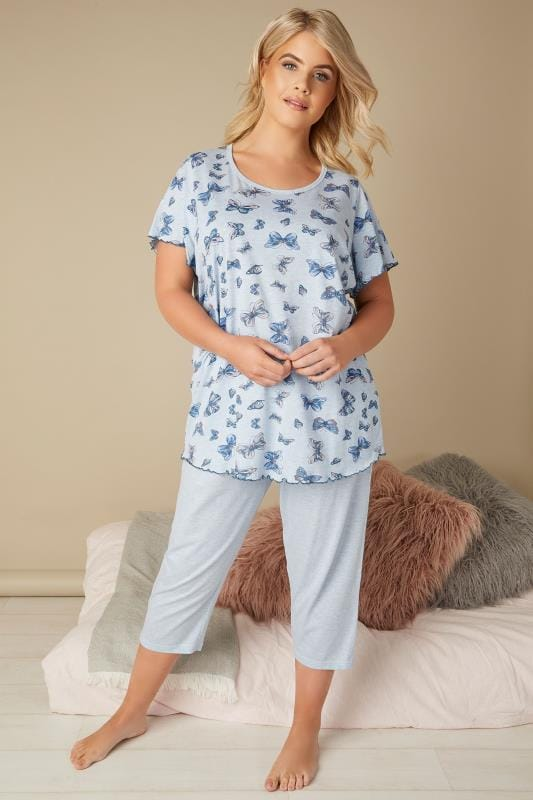 Plus Size Pajamas Blue Marl Butterfly Print Cropped Pyjama Set