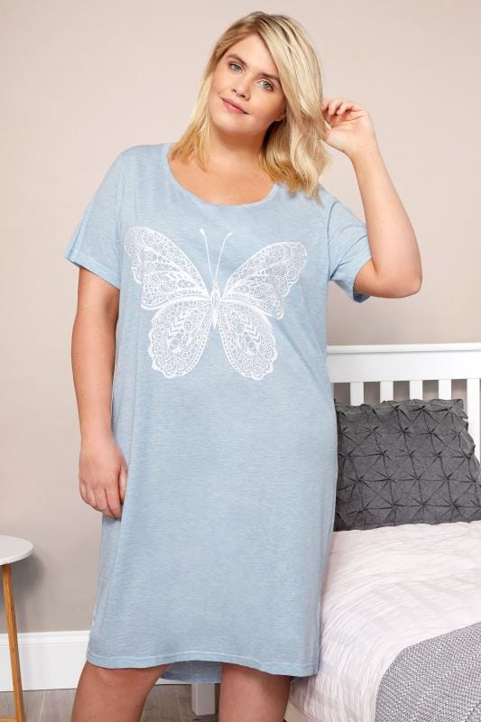 Plus Size Nightshirts Blue Marl Glitter Butterfly Nightdress