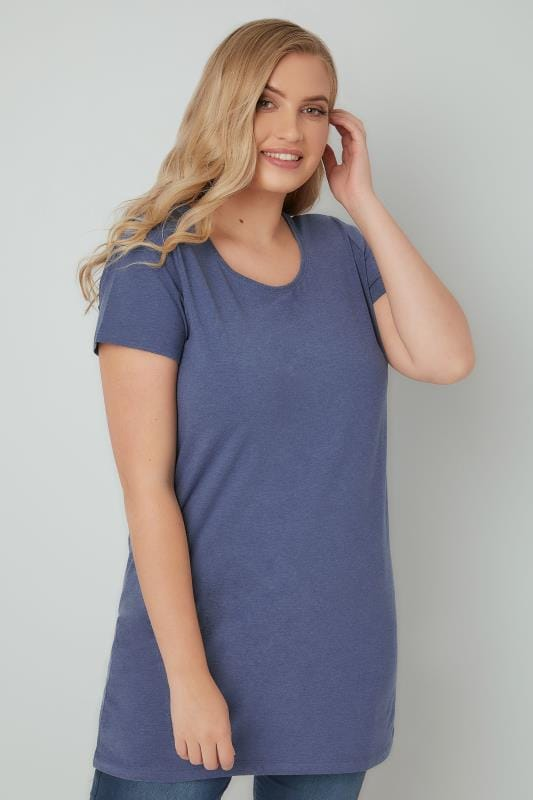 Blue Marl Scoop Neck Longline Jersey T-Shirt