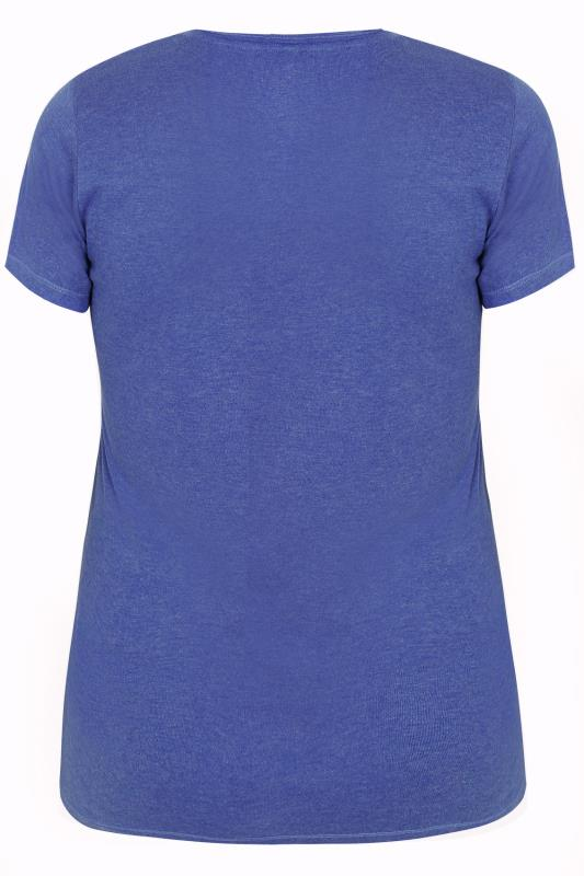 Blue Marl Short Sleeved V Neck Basic T Shirt Plus Size 16