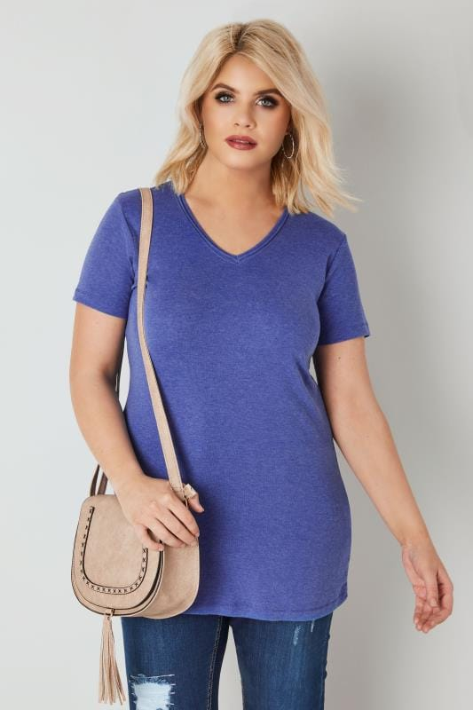Plus Size Basic T-Shirts & Vests Blue Marl Short Sleeved V-Neck Basic T-Shirt