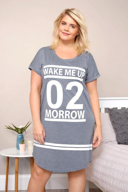 Plus Size Nightdresses Blue Marl 'Wake Me Up 02 Morrow' Nightdress