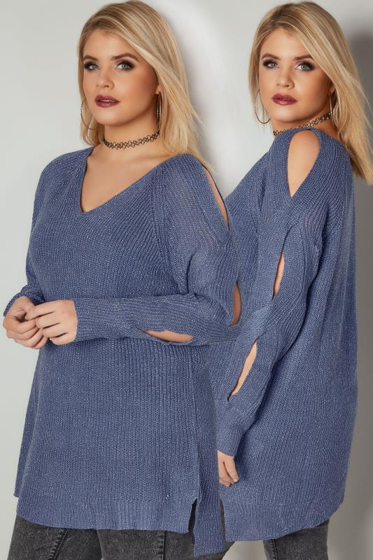 Plus Size Jumpers Blue Metallic Jumper With Cross Cut Out Sleeves