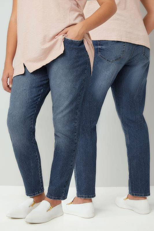 Blue Mid Wash Slouch Jeans