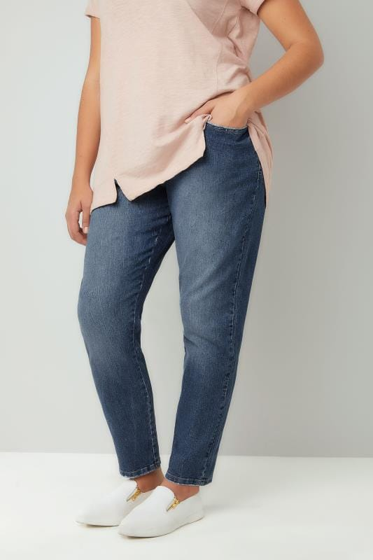 Blue Mid Wash Slouch BROOKLYN Jeans