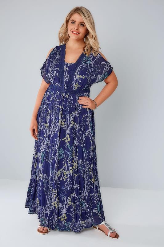 Blue & Multi Floral Print Cold Shoulder Maxi Dress With Sequin Detail