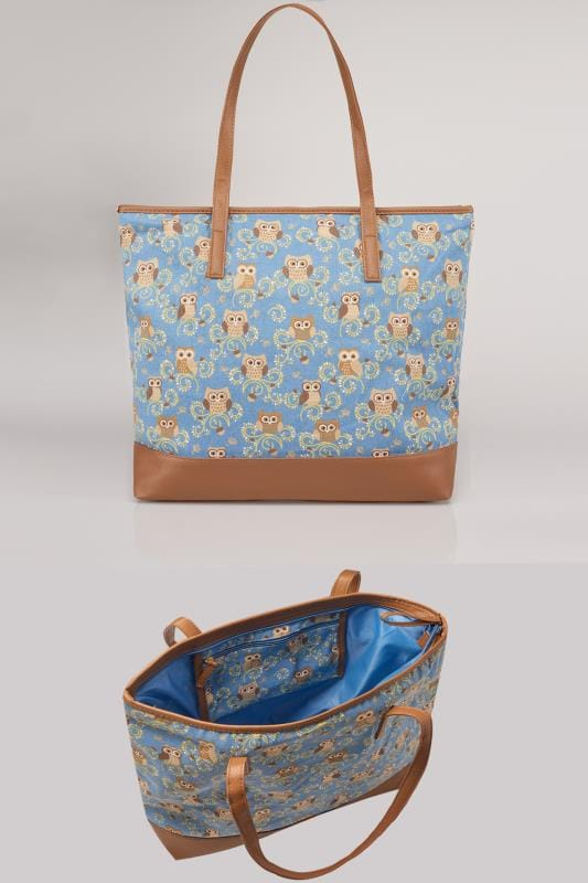 Blue & Multi Owl Print Shopper Bag