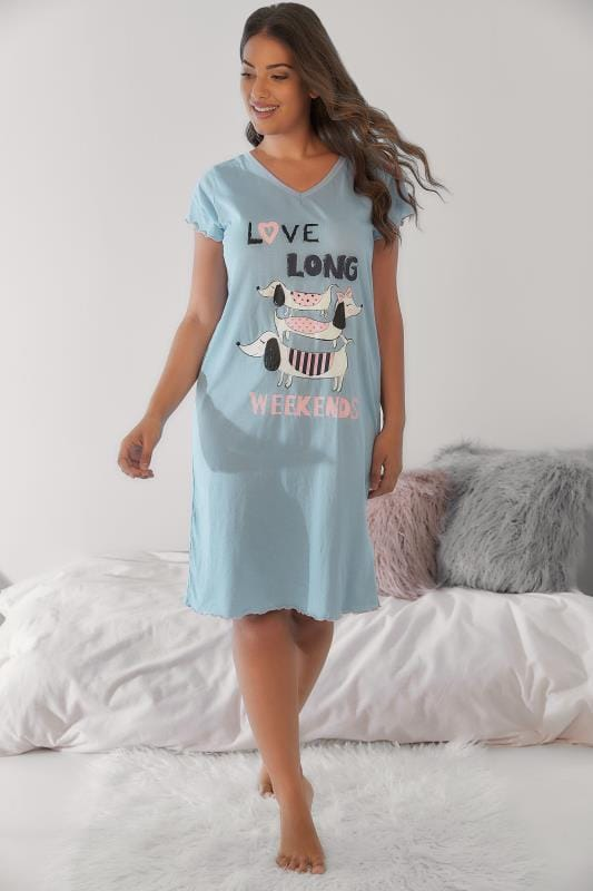 Blue & Multi Sausage Dog Long Weekend Nightdress
