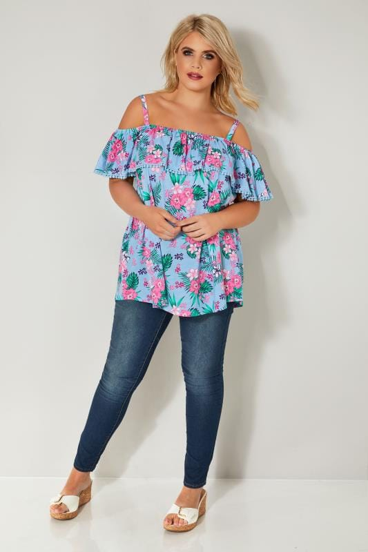 Blue & Multi Tropical Print Frilled Bardot Top