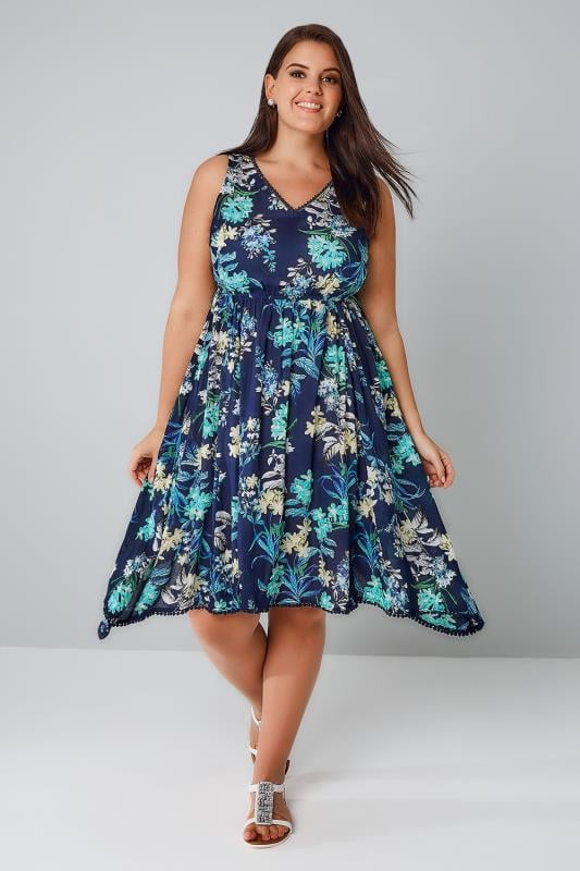 Blue & Multi Tropical Print Sleeveless Dress With Sequin Detail