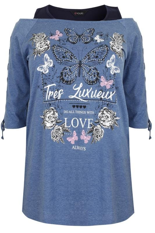 Blue Navy 39 Tres Luxueux 39 Butterfly Print Cold Shoulder