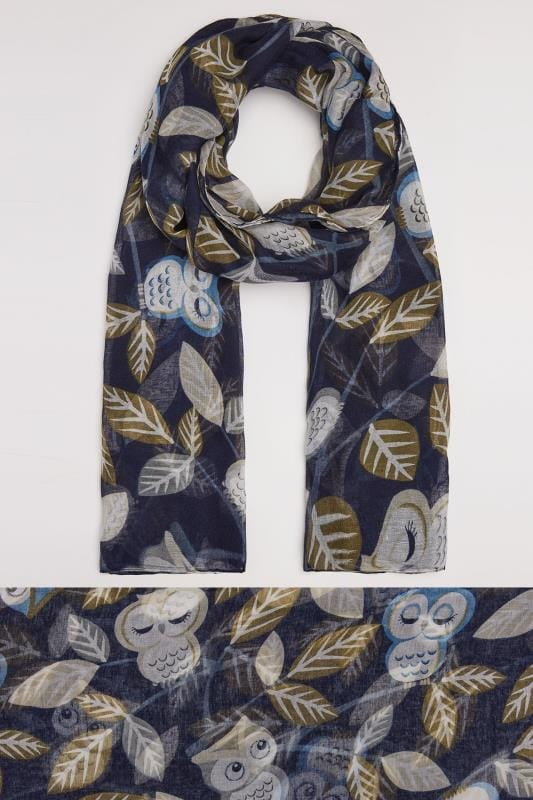 Plus Size Scarves Blue Owl Print Scarf