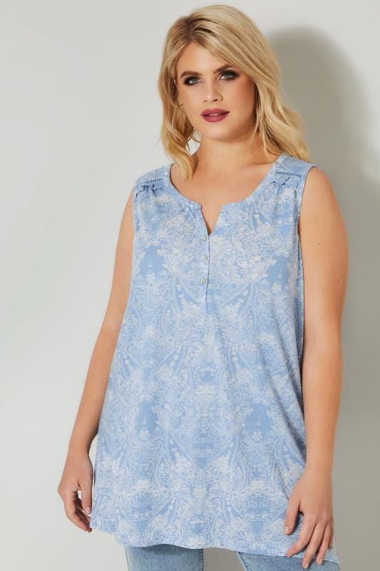 Plus Size Day Tops Blue Paisley Sleeveless Burnout Top
