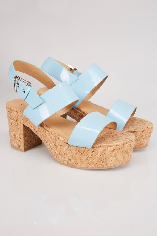Blue Patent Platform Cork Sandal In EEE Fit