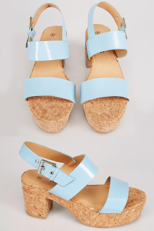 Wide Fit Wedges Blue Patent Platform Cork Sandal In EEE Fit 056441