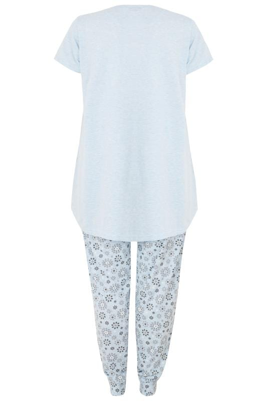 Blue Penguin Slogan Print Pyjama Set