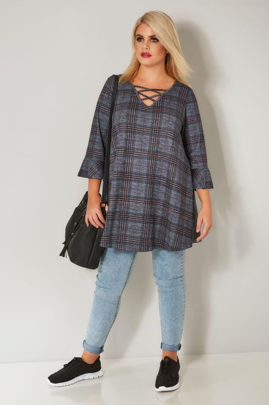 Blue & Pink Checked Longline Top With Flute Sleeves