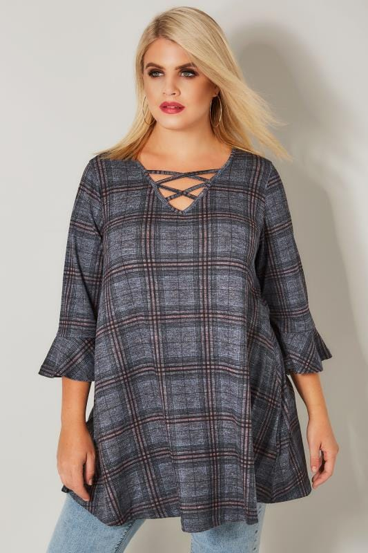 Plus Size Longline Tops Blue & Pink Check Longline Top With Flute Sleeves