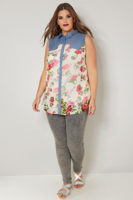 Blue & Pink Floral Print Chambray Shirt