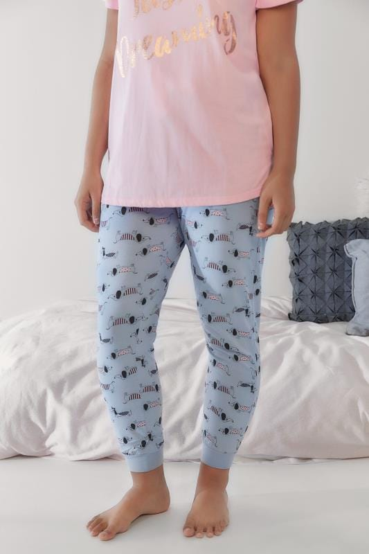 Blue & Pink Sausage Dog Print Pyjama Bottoms