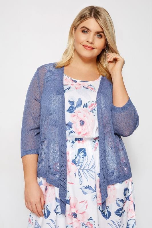 Blue Popcorn Cropped Shrug