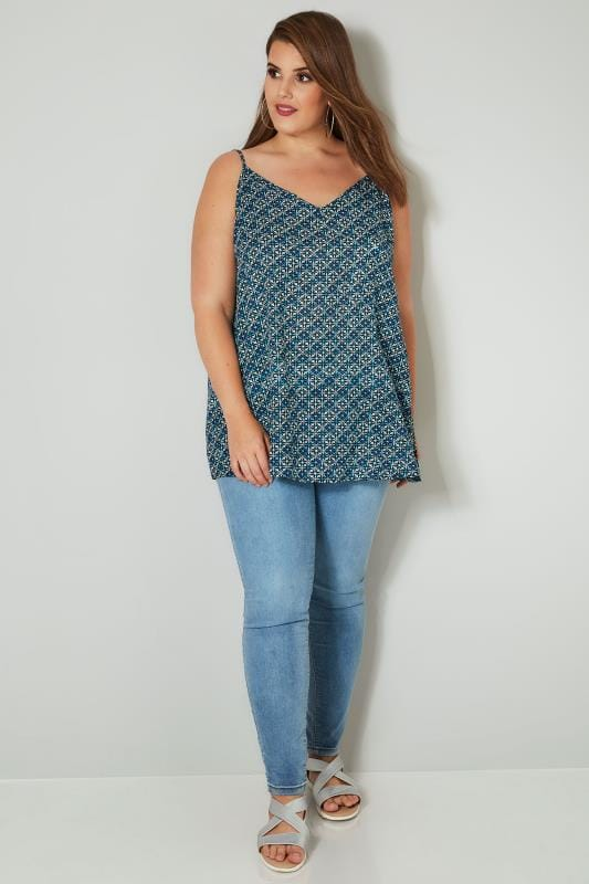Blue Printed Woven Cami Top