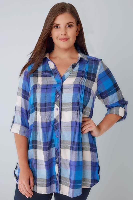 Blusen & Hemden Blue & Purple Checked Pleat Detail Shirt With Metallic Detail 130137