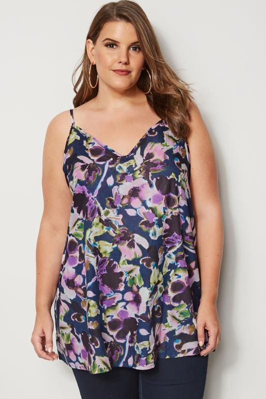 Plus Size Vests & Camis Blue & Purple Floral Print Cami Top