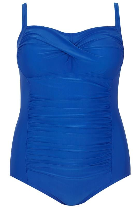 Badeanzüge Blue Ruched Swimsuit With Padded Cups 150041