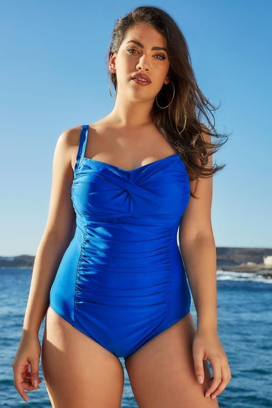 Plus Size Swimsuits Blue Ruched Swimsuit With Padded Cups