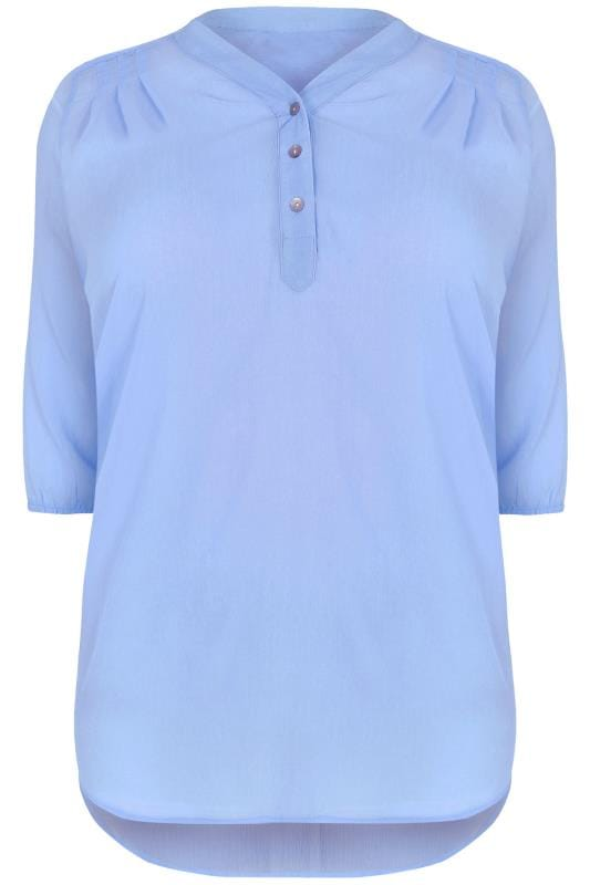 Blue Sheer Chiffon Button-Up Blouse With 3/4 Length Sleeves