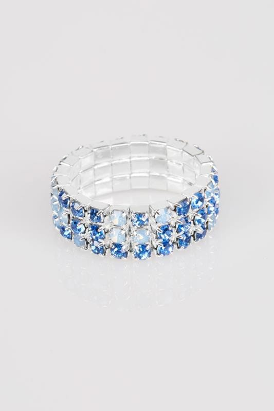 Blue & Silver Diamante Stretch Ring