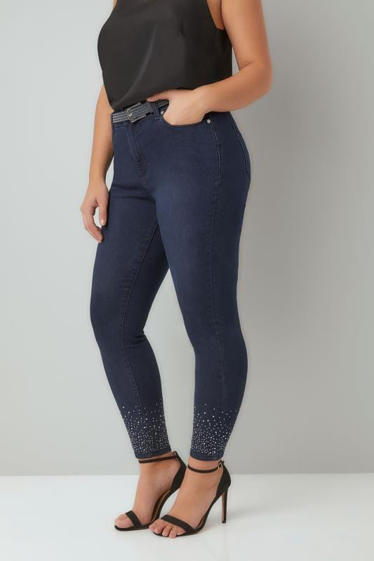 Plus Size Skinny Jeans Blue Skinny Diamante AVA Jeans With Studded Belt