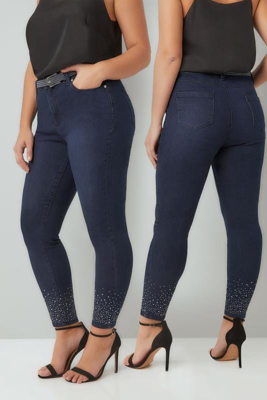 Skinny Jeans Blue Skinny Jeans With Diamante Details & Studded Belt 142092