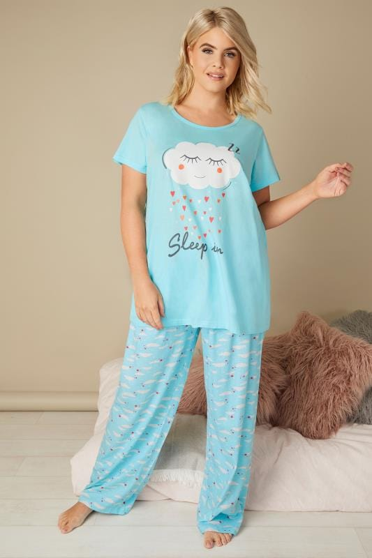 Plus Size Pyjamas Blue 'Sleep In' Slogan & Cloud Print Pyjama Set