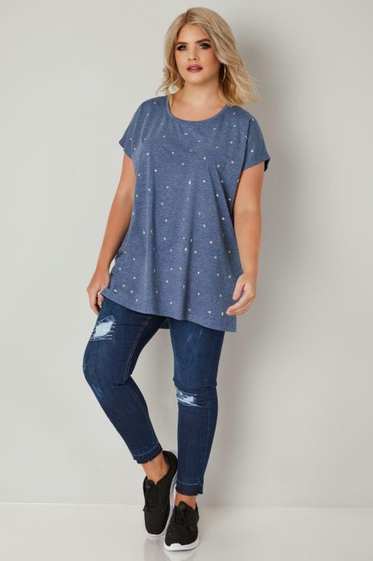 Blue Star Studded Jersey T-Shirt With Curved Hem