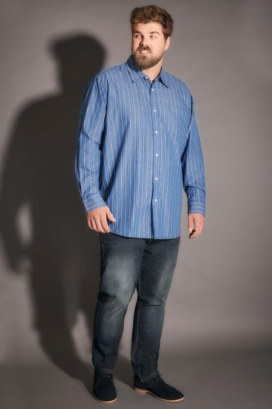 Blue Striped Shirt With Chest Pocket - TALL