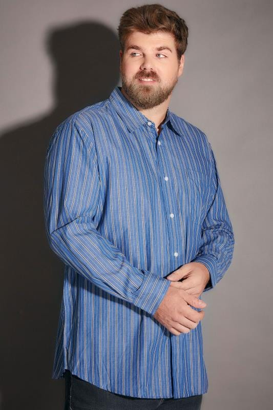 Blue Striped Shirt With Chest Pocket