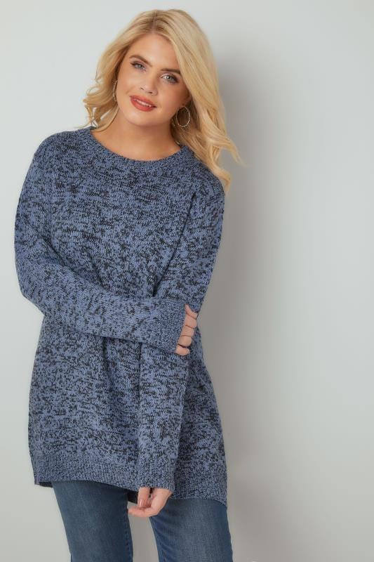 Jumpers Blue Textured Jumper With Dipped Hem 124107
