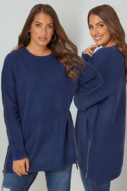 Plus Size Jumpers Blue Textured Ribbed Jumper With Zip Detail