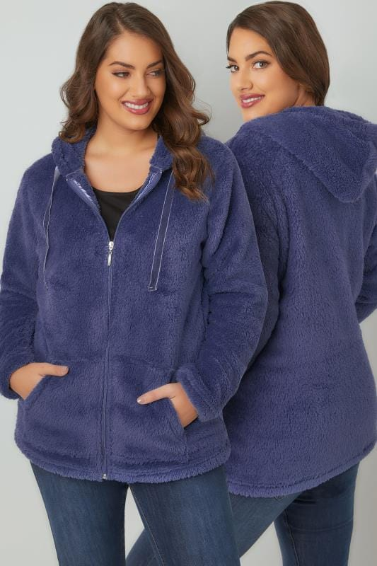Fleeces Blue Textured Zip Through Hooded Fleece 126046