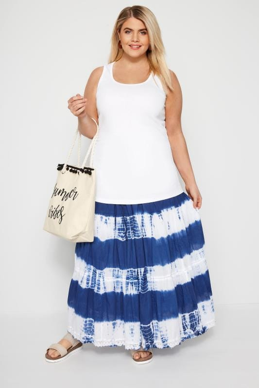 Blue Tie Dye Tiered Maxi Skirt