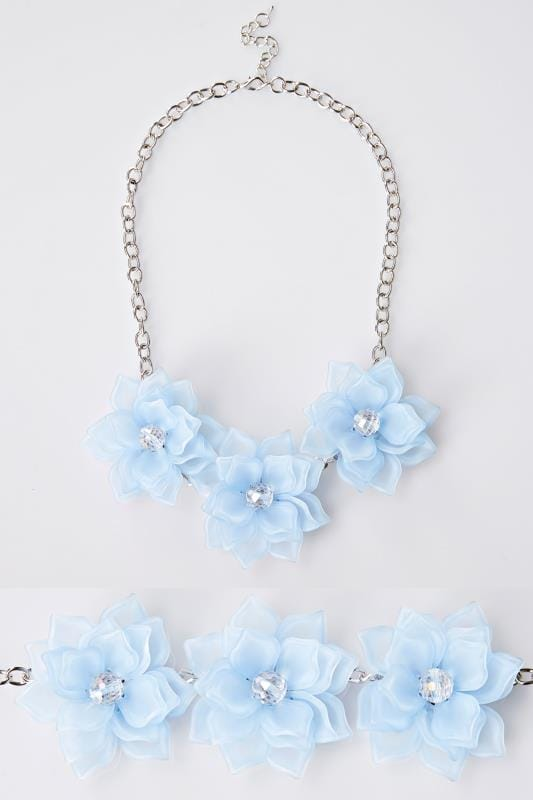 Plus Size Necklaces Blue Triple Flower Statement Necklace