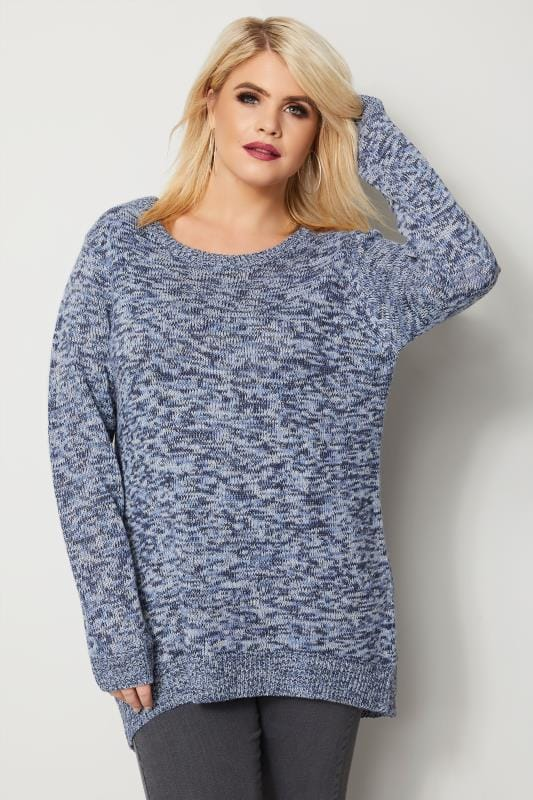 Plus Size Jumpers Blue Twist Knitted Jumper