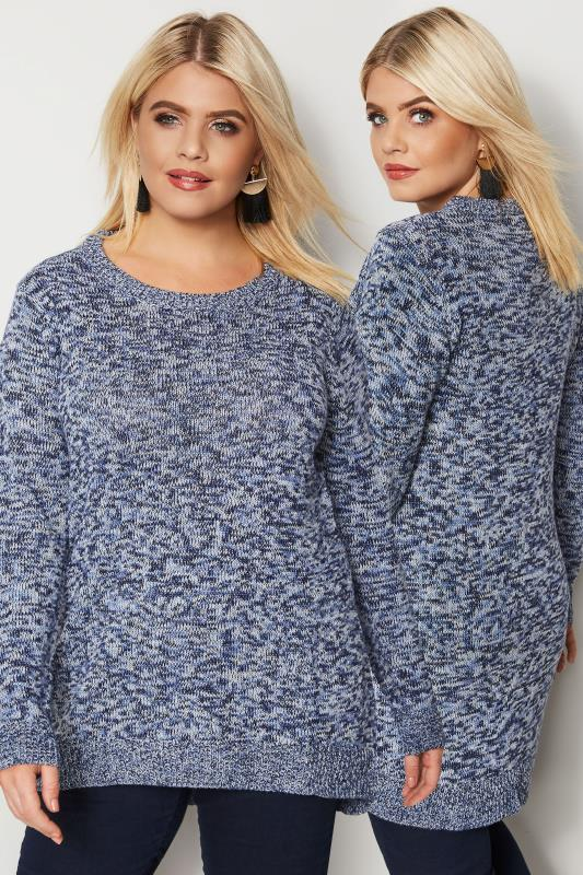Plus Size Sweaters Blue Twist Knitted Jumper