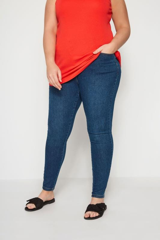 Plus Size Skinny Jeans Blue Washed Denim Skinny AVA Jeans