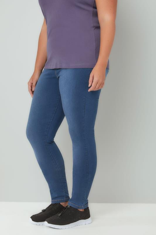 Plus Size Shaper Jeans Blue Washed Pull On LOLA Jeggings