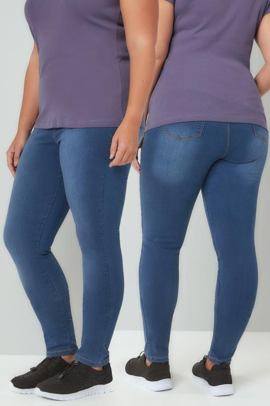 Shaper Jeans Blue Washed Pull On Stretch SHAPER Jeggings 142088